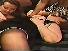 Two BBW MILFs plus one horny guy equals a hot vintage groupfuck