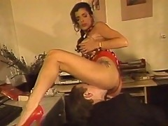 Brunette bitch sucks cock and licks bush