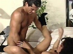 Gorgeous brunette fucked hard by a stud
