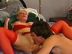 Slut in red rammed by hairy cock