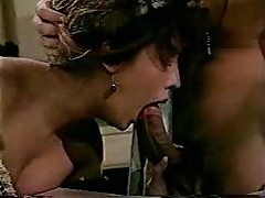 Horny stockings girl in classic porn threesome