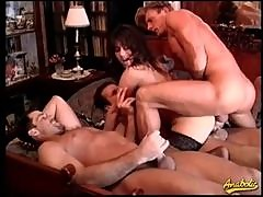 Retro gangbang of a stockings slut
