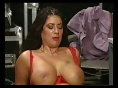 Big Busty Tiziana Redford Mega Boobs in Red lingerie