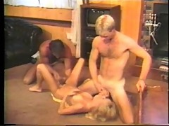 Hot threesome of two males and a female fucking