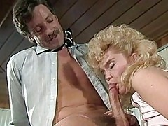 Blonde girl blowing cock and gets poked