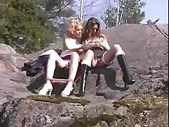 Slutty Russian Teens Natia And Olga Fondle Each Other Outdoors Then Have A Threesome