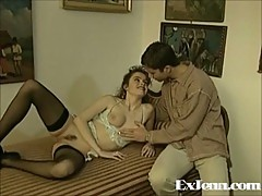 Vintage couple having great sex