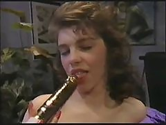 from the early 90s: dutch cutie plays with silver dildo