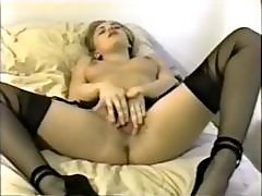 Hot Blonde Jacqueline Lovell Were Her Stockings As She Masturbates