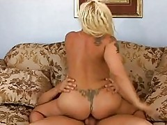 Busty babe Serena Marcus rides her big booty on a massive sc...